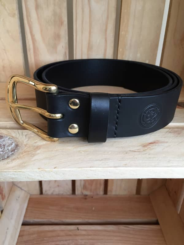 Handmade Black Leather Meavy Belt Brass Buckle