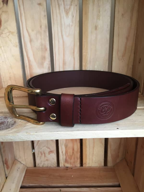 Handmade Brown Leather Meavy Belt Brass Buckle