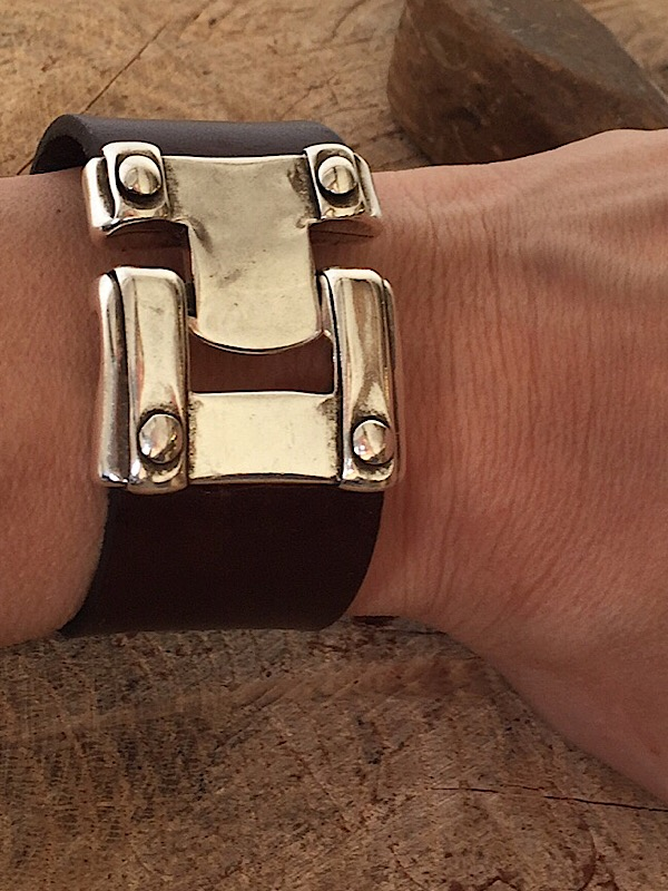 Dark Brown Leather Wrist Cuff
