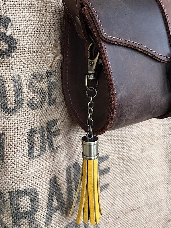 Leather Tassel Mustard Bag Charm