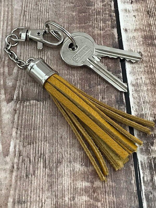 Leather Tassel Mustard Key Chain